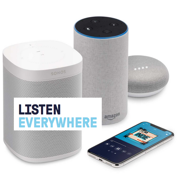 Picture of smart speakers, and smartphone.